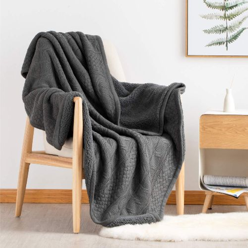 Knitted Throw Blanket with Sherpa Dark Grey Reversible Fuzzy Fleece by Bedsure