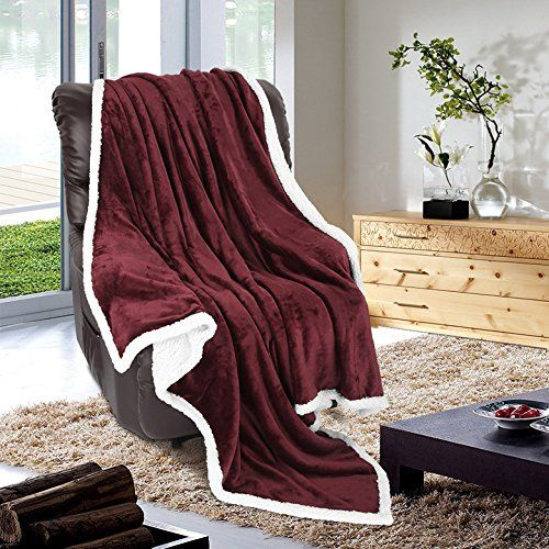 Super Soft Warm Breathable Lightweight Reversible Sherpa Blanket by LANGRIA