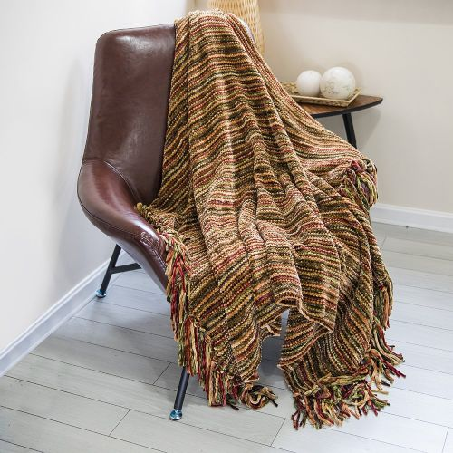 Thick Fluffy Chenille Knitted Throw Blanket with Decorative Fringe by DOZZZ